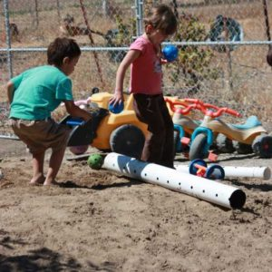 Preschool children engaged in active play, developing gross motor